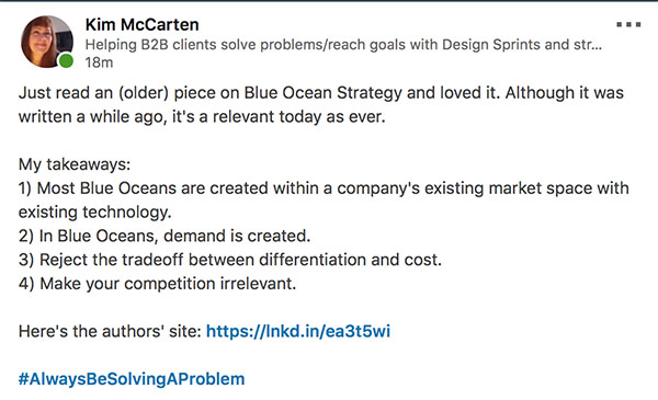 blue ocean strategy 1 linkedin post